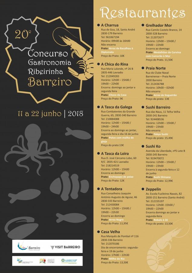 f0e7f0b9e0 Barreiro - 20º Concurso de Gastronomia Ribeirinha Tendo como base produtos  originários ou característicos dos rios Tejo e Coina